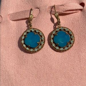 Anthro Turquoise and Gold Earings